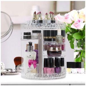 Rotating Clear Acrylic Makeup Organizer Tower